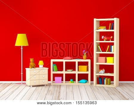 kids room with bookcases with toys at the red wall. 3d illustration