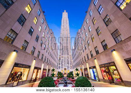 NEW YORK CITY - NOVEMBER 2, 2016: Rockefeller Center in New York. The historic landmark was completed in 1939.
