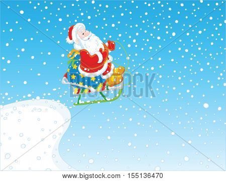 Santa Claus with a bag of Christmas gifts flying from a snow springboard on his sledge