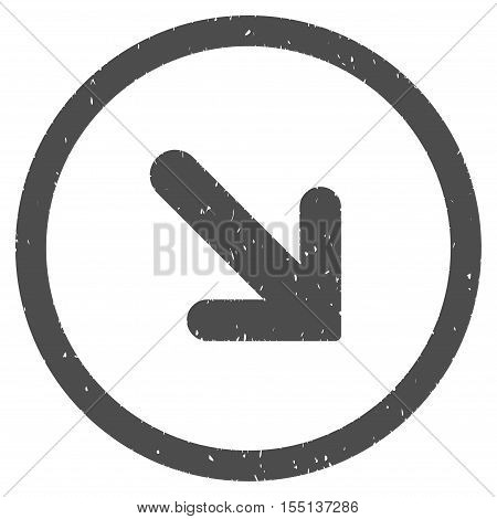 Arrow Right Down rubber seal stamp watermark. Icon symbol inside circle frame with grunge design and dust texture. Scratched vector ink sticker on a white background.