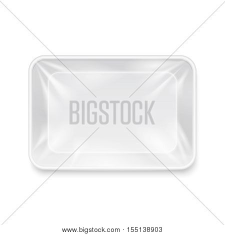 Empty white plastic food container, packaging tray vector template. Package for storage, box pack illustration for product