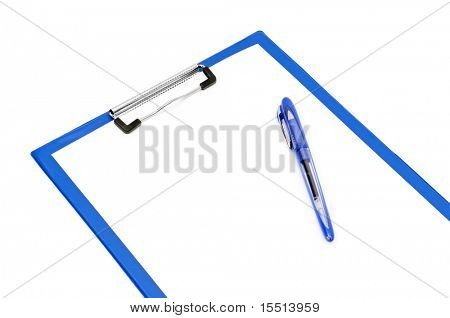 clipboard and ballpoint pen isolated on a white background