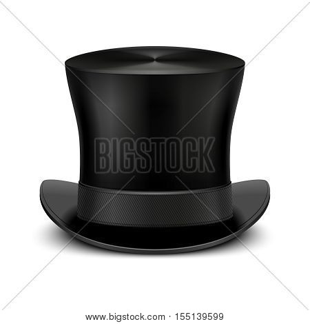 Vintage black gentleman top hat isolated on white. Classic traditional topper accessory. Vector illustration