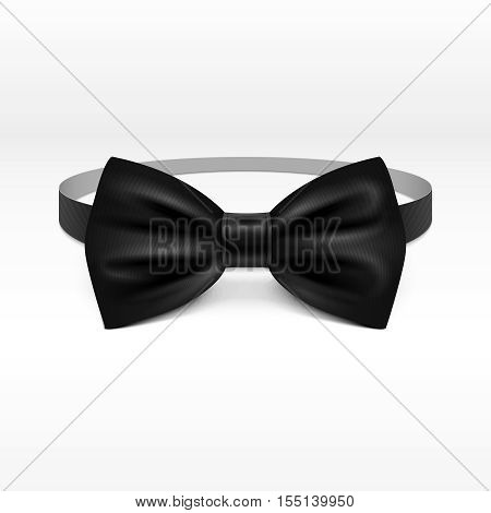 Black bow tie realistic vector illustration isolated on white background. Bowtie for tuxedo from satin cloth illustration