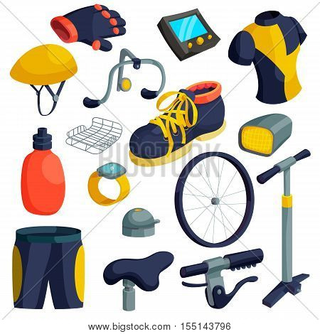 Bike items icons set. Cartoon illustration of 16 bike items vector icons for web