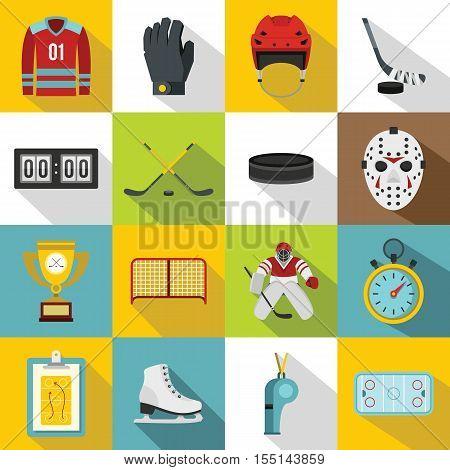 Hockey icons set. Flat illustration of 16 hockey vector icons for web