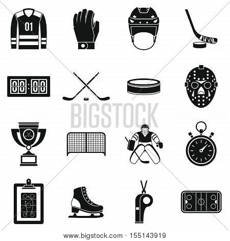 Hockey icons set. Simple illustration of 16 hockey vector icons for web