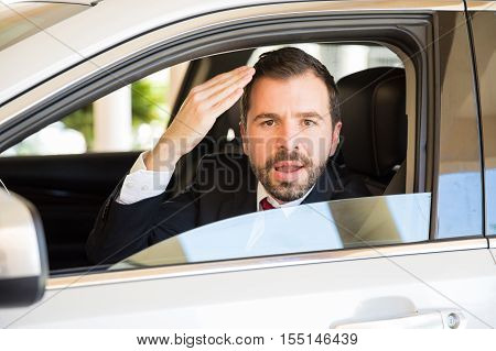 Young Man Suffering From Road Rage