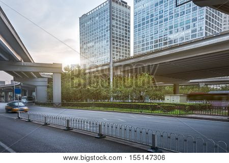 Multi - layer interchange and skyscraper in the city, Shanghai, China