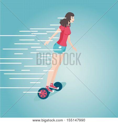 Flat style cartoon illustartion. Girl is riding a gyro skooter.