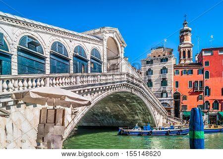 View at famous european and italian landmark Rialto Bridge in Venice city, Italy Europe.
