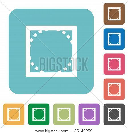 Rounded corners white flat icons on color rounded square backgrounds