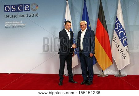 POTSDAM GERMANY. SEPTEMBER 1ST 2016: Federal Foreign Minister Dr Frank-Walter Steinmeier welcomes Nikola Poposki Minister of Foreign Affairs of the Former Yugoslav Republic of Macedonia to the Informal OSCE Foreign Minister's Meeting held in Potsdam Germa