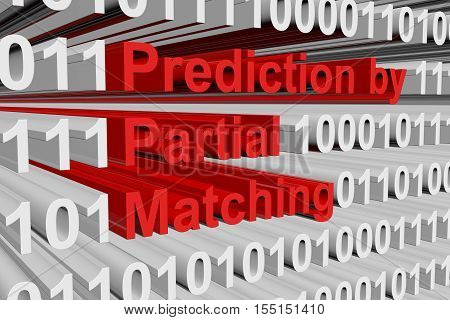 Prediction by Partial Matching in the form of binary code, 3D illustration
