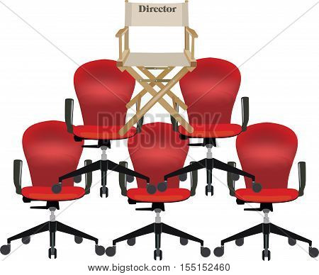 canvas chair with writing director pyramid of chairs topped the director