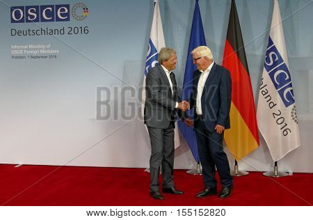 POTSDAM GERMANY. SEPTEMBER 1ST 2016: Federal Foreign Minister Dr Frank-Walter Steinmeier welcomes Paolo Gentiloni Minister of Foreign Affairs and International Cooperation of Italian Republic to the Informal OSCE Foreign Minister's Meeting held in Potsdam