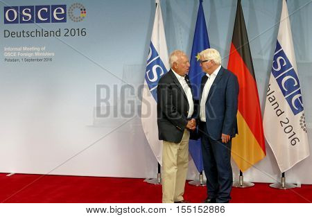 POTSDAM GERMANY. SEPTEMBER 1ST 2016: Federal Foreign Minister Dr Frank-Walter Steinmeier welcomes Jose Manuel Garcia - Margallo y Marfil Minister of Foreign Affairs and Cooperation of Kingdom of Spain to the Informal OSCE Foreign Minister's Meeting held i