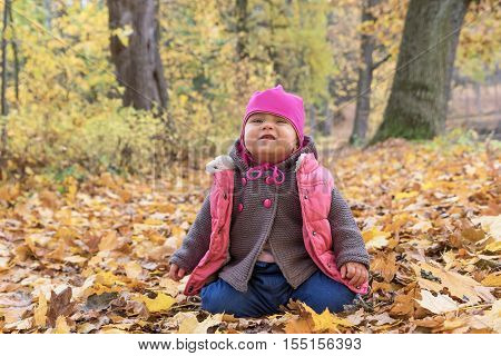 Happy baby girl in pink warm coat and pink hat makes grimace sitting on fallen leaves in beautiful autumn park on fall day.