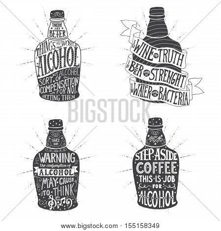 Handmade Typographic Art for Poster Print Greeting Card T shirt apparel design. Vintage vector engraving illustration for label, poster, invitation to a party drink.