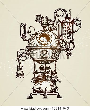 Vintage distillation apparatus sketch. moonshine vector illustration
