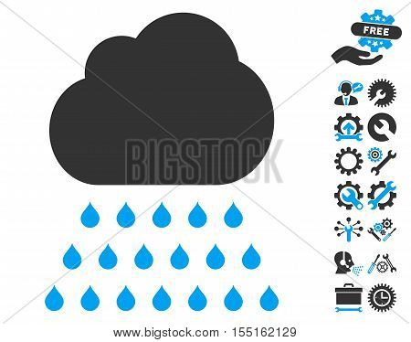 Rain Cloud pictograph with bonus settings pictograph collection. Vector illustration style is flat iconic blue and gray symbols on white background.