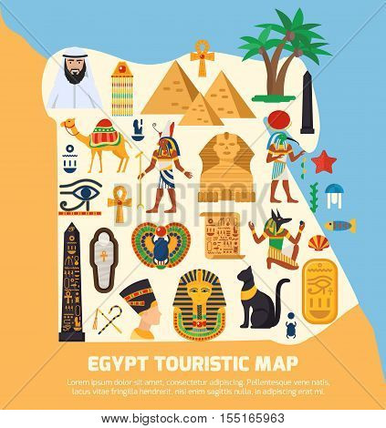 Egypt touristic map with national landmarks and sights symbols flat vector illustration