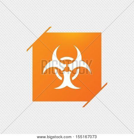 Biohazard sign icon. Danger symbol. Orange square label on pattern. Vector