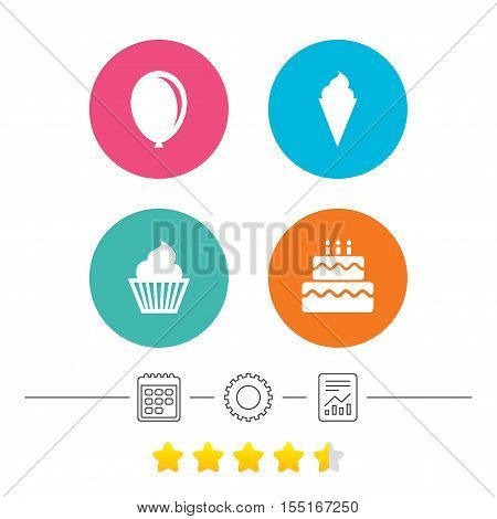 Birthday party icons. Cake with ice cream signs. Air balloon symbol. Calendar, cogwheel and report linear icons. Star vote ranking. Vector