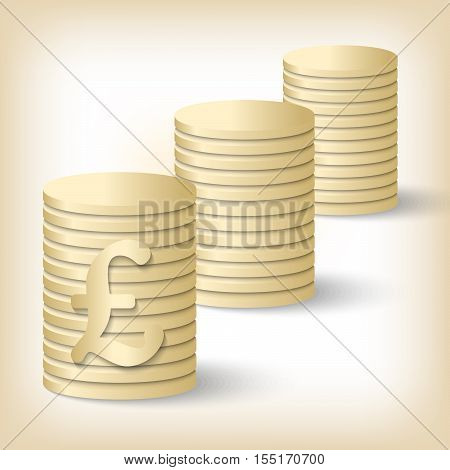 Three vector golden coin and pound sterling symbol