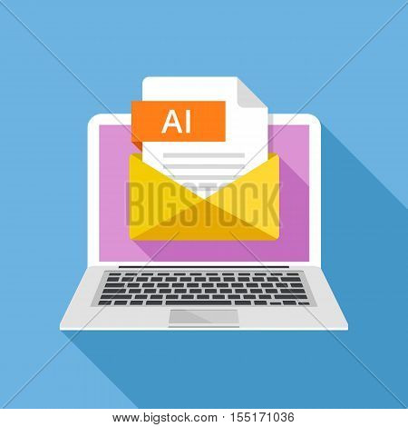 Laptop with envelope and AI file. Notebook and email with file attachment AI document. Trendy graphic elements for website, web banners, mobile app. Modern long shadow flat design. Vector illustration