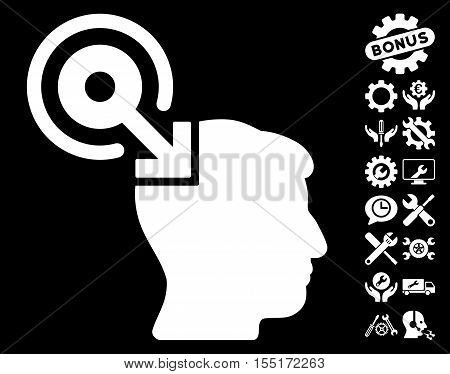 Brain Interface Plug-In pictograph with bonus options pictograph collection. Vector illustration style is flat iconic symbols on white background.