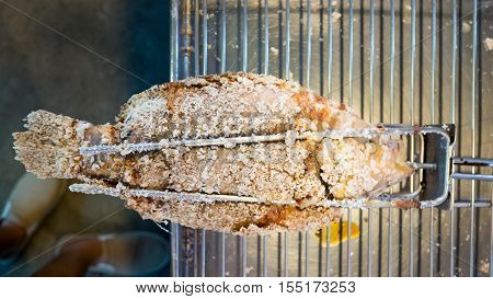 Thai Style Salt Crusted Grilled Fish.