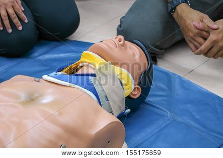 medical dummy on CPR in emergency refresher training to assist of physician