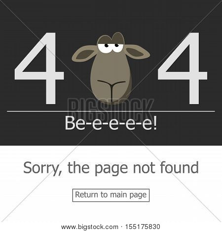 Concept page 404 error. Illustration error page not found. A modern 404 page with stubborn lamb head. Template reports that the page is not found.