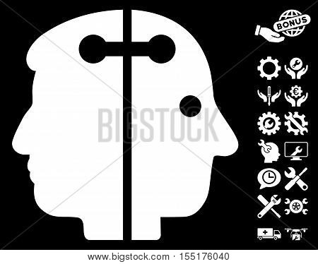 Dual Head Connection pictograph with bonus tools pictograph collection. Vector illustration style is flat iconic symbols on white background.