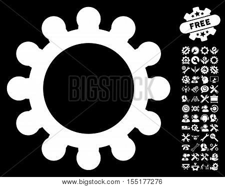 Gear pictograph with bonus tools pictograph collection. Vector illustration style is flat iconic symbols on white background.