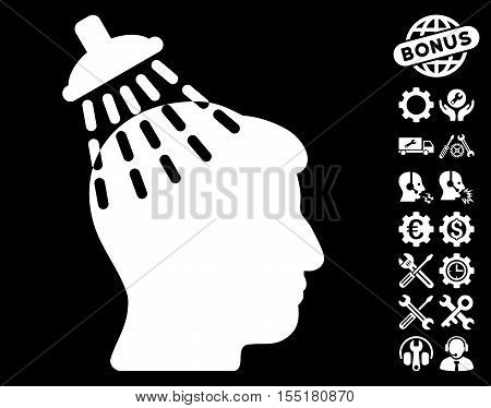 Head Shower pictograph with bonus tools design elements. Vector illustration style is flat iconic symbols on white background.