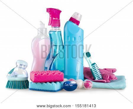 House cleaning and hygiene supplies isolated on white background