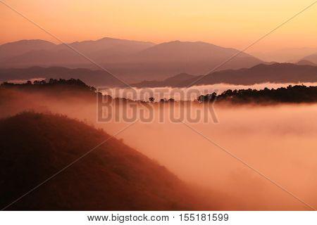 Morning Mist At Twilight, Tak, Thailannd