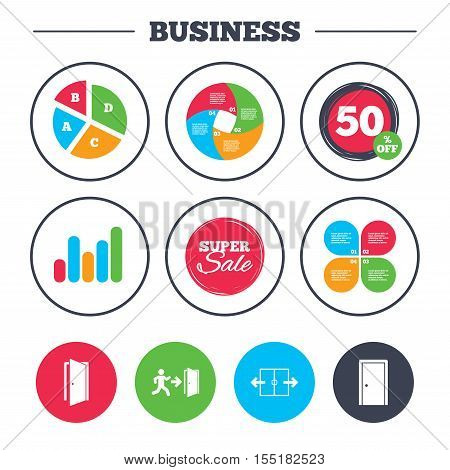 Business pie chart. Growth graph. Automatic door icon. Emergency exit with human figure and arrow symbols. Fire exit signs. Super sale and discount buttons. Vector