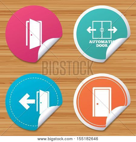 Round stickers or website banners. Automatic door icon. Emergency exit with arrow symbols. Fire exit signs. Circle badges with bended corner. Vector
