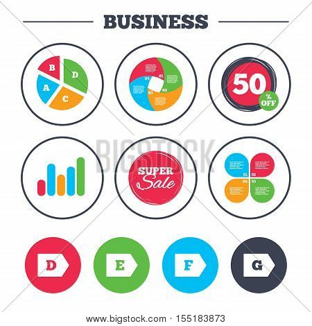 Business pie chart. Growth graph. Energy efficiency class icons. Energy consumption sign symbols. Class D, E, F and G. Super sale and discount buttons. Vector