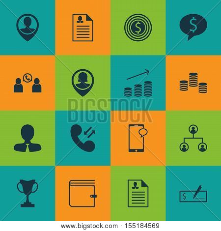 Set Of Human Resources Icons On Curriculum Vitae, Manager And Money Topics. Editable Vector Illustra