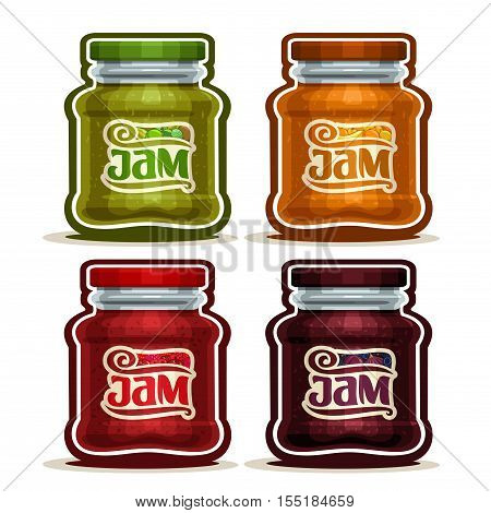 Vector logo Fruit Jam in glass Jar with lid, rustic green, red pot cartoon home made jams, set homemade fruit jam jars, farm dessert in orange, purple pots with label, isolated on white background.