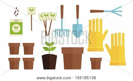 Vector Illustration. Gardening Collection Set. Flatlay Garden Equipment. Flat Gardening On White Iso