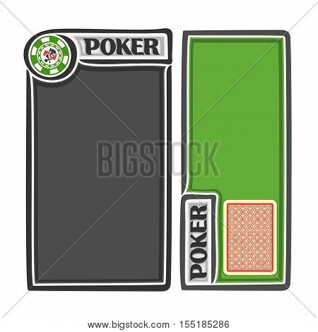 Vector logo holdem Poker: red deck playing card for gambling game, two isolated vertical banners for text, score notes, title for casino clubs, chips with card suits, posters for poker gamble games.