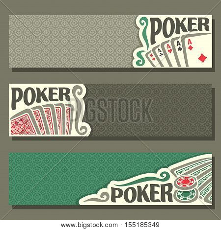 Vector logo of holdem Poker, playing card back for gambling game on green texture felt table in casino club, cover banner for pokers gamble games, in header card set hand: four of kind, token chips.