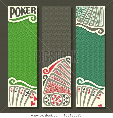 Vector logo of holdem Poker, playing card back for gambling game on green texture felt table in casino club, vertical banner for pokers gamble games, card set hand: four of kind,straight, token chips