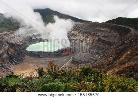 Sulfuric acid lake in the crater of the Poas Volcano in Costa Rica.