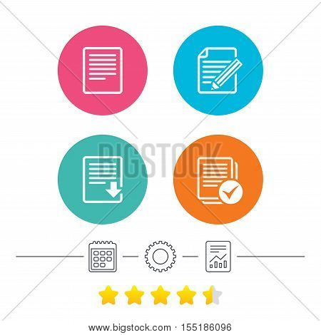 File document icons. Download file symbol. Edit content with pencil sign. Select file with checkbox. Calendar, cogwheel and report linear icons. Star vote ranking. Vector